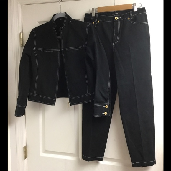 bella colori Jackets & Blazers - Bella Colori black denim jacket pants set size S